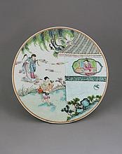 A Cantonese Famille Vert Circular Plaque . 19th