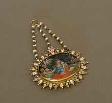 Spanish 17th Century. A Gold mounted polychrome