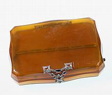 A Fine Blonde Tortoiseshell, Diamond and Sapphire Set Lady's compact