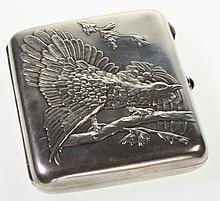 A Russian Silver Cigarette Case. Possibly by Adam Yuden