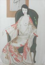 Keiichi Kizohara. mixed media. Semi-nude a girl (study)