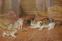 Frank Paton (1855-1909). Water colour. Cats in a barn