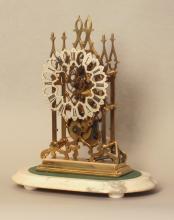 A Good Victorian Gilt Brass Skeleton Timepiece