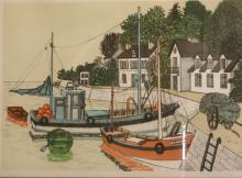 Denis Paul Noyer (French, 1940) . Lithograph. Fishing