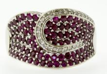 14KT White Gold 1.78ctw Ruby and Diamond Ring