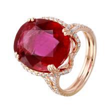 Glamorous Halo 14.50ctw Rubellite Tourmaline and Diamond 14KT Rose Gold Ring