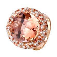 Celebrity Custom Made 23.21ctw Morganite, Sapphire and Diamond 14KT Rose Gold Ring