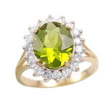 Sparkling 3.40ctw Peridot and Diamond 14KT Yellow Gold Ring