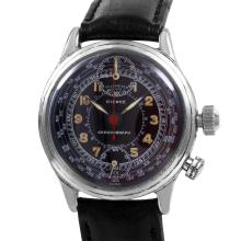 Authentic Designer Pierce One Button Chronograph Telemeter Pilots Manual Wind Wrist Leather Watch