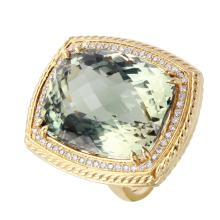 Edwardian Estate Style 33.41ctw Green Amethyst and Diamond 14KT Yellow Gold Ring