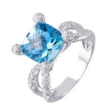 Custom Made Criss-Cross 5.81ctw Topaz and Diamond 18KT White Gold Ring