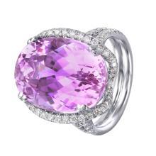 New Jumbo Daphne Style 20.89ctw Kunzite and Diamond 18KT White Gold Custom Made Ring