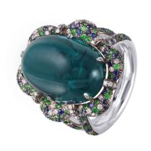 New Chantilly 20.37ctw Tourmaline, Sapphire, Tsavorite and Diamond 18KT White Gold Luxury Ring