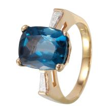 Daphne 4.57ctw Sky Topaz and Diamond 14KT Yellow Gold Ring