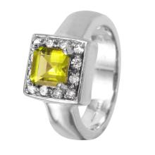Distinctive Edwardian Style 1.32ctw Peridot and Diamond 14KT White Gold Ring