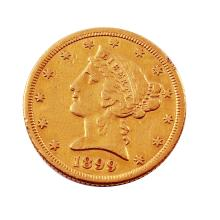 1899 - S  $5 Liberty Head Half Eagle Gold Coin Guaranteed Genuine