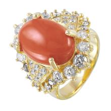 New Italianate Style 10.36ctw Coral and Diamond 14KT Yellow Gold Ring - #1472