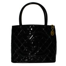 Genuine Authentic Designer Chanel Quilted Black Patent Leather Shoulder Bag with CC Gold Medallion - #481A