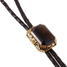 One of a Kind Style 14KT Yellow Gold Smoky Topaz Leather Vintage Bolo Tie - #1212