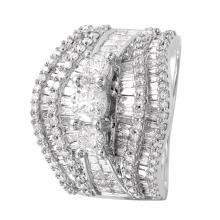 Grand Luxury 3.37ctw Multi-Diamond 14KT White Gold Engagement Ring - #968
