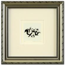 Pepe Le Pew Dancing (Large) Limited Edition Hand-Tinted Etching (Dated 1999) from Warner Bros., Numbered with Certificate of Authenticity! This Piece Comes Framed! - #2647