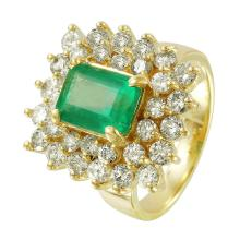 NEW Diana 2.02ctw Emerald and Diamond 14KT Yellow Gold Two-Tiered Cluster Ring - #1492