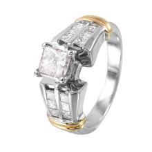 NEW Sparkling Princess 1.50ctw Diamond 14KT Two Tone Gold Engagement Ring - #1342