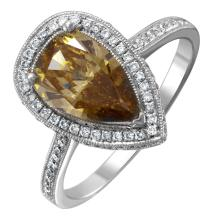 NEW Luxury 1.96ctw Fancy Chocolate and White Diamond 14KT White Gold Pear Engagement Ring - #1632