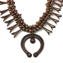 Exquisite Handmade Bead Navajo Squash Blossom Necklace Pendant in Rustic Coin Silver - #1570