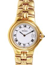 Gent's Classy Sleek Authentic Designer Movado Gold Plated Watch - #1373