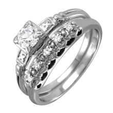 Exquisite Diamond 14KT White Gold Art Deco Engagement Ring and Matching Wedding Band Set - #155