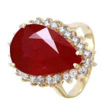 NEW Diana 10.55ctw Ruby and Diamond 14KT Yellow Gold Cocktail Ring - #1514