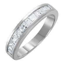 NEW Brilliant Mixed-Cut Diamond 14KT White Gold Wedding Band - #1592