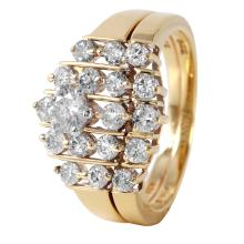 Impressive Diamond 14KT Yellow Gold Tiered Wedding Ring - #644