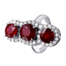 Moquette 10.67ctw Ruby and Diamond 14KT White Gold Vintage Style Ring - #527