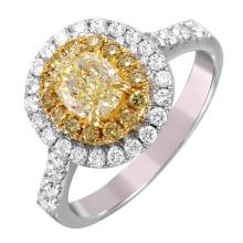 NEW Halo 1.26ctw Fancy Yellow and White Diamond 18KT Two Tone Gold Engagement Ring - #1504
