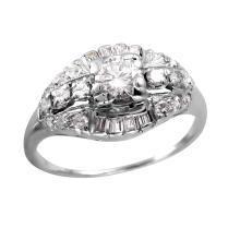 Exquisite Multi-Diamond 14KT White Gold Art Deco Scroll Ring - #728