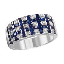 NEW Woven Design 2.35ctw Sapphire and Diamond 14KT White Gold Band - #2023