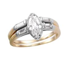 Sought-After 1.01ctw Marquise Diamond 14KT Two Tone Gold Wedding Ring - #730