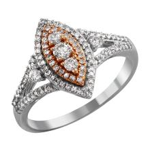 NEW Memorable Antique Style Inspired Brilliant Diamond 10KT White and Rose Gold Marquise Engagement Ring - #2048
