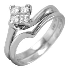 Contemporary Princess Diamond Cluster 14KT White Gold Engagement Set - #44