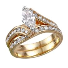 Gorgeous Marquise Diamond 14KT Yellow Gold Bypass Wedding Ring - #1817