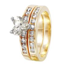 Glistening 1.42ctw Heart Diamond 14KT Yellow Gold Wedding Ring - #1517