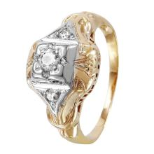 Vintage Art Deco Style Diamond Accent 14KT Two Tone Gold Geometric Pinky Ring - #1356