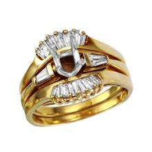 Gorgeous Baguette Diamond 14KT Yellow Gold Wedding/Semi Mount Set - #1860