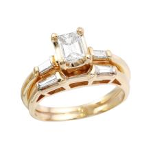 Glamorous Antique Style Inspired Emerald Cut Diamond 18KT Yellow Gold Wedding Ring Set - #751