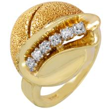 Geometric Swirl Diamond 14KT Yellow Gold Artisan Ring - #277