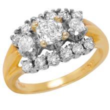 Moquette 1.25ctw Diamond 14KT Two Tone Gold Art Deco Style Ring - #286