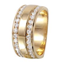 Ladies Double Channel Diamond  Ring 14KT Yellow Gold Band - #1131