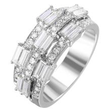 NEW Dimensional 1.31ctw Mixed Cut Diamond 14KT White Gold Triple Row Band - #2021